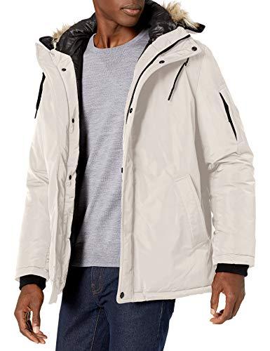 Calvin Klein Men's Classic Parka Jacket with Faux Fur Hood, Frost, Medium