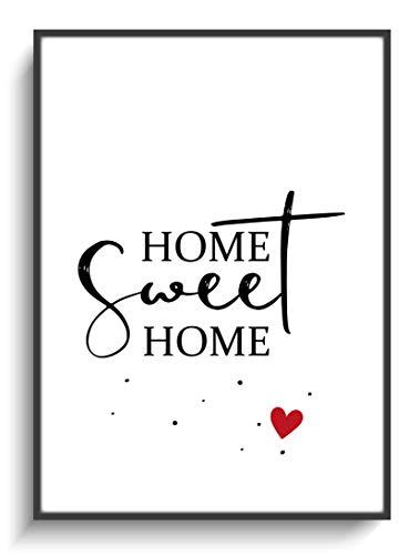 ILOTANA-MOTIVE Poster Bild DIN A4 Home Sweet Home 3 ohne Rahmen Deko Zuhause Wand Flur Zimmer Modern