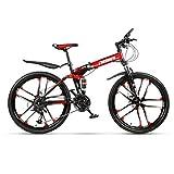Bicicletas plegables, Bicicletas plegables para adultos, Bicicletas plegables de 26 pulgadas para hombres y mujeres, Bicicletas de montaña con suspensión plegable, Bicicletas de montaña plegables
