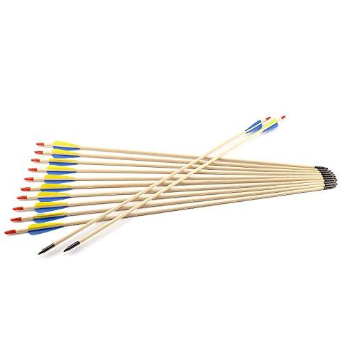 Hamimelon 12 Flechas de Madera para Tiro con Arco Recurvo Longbow para Práctica Puntería de Tiro Punta de Acero Asta de Madera, Hecho de Mano (79cm Largo)