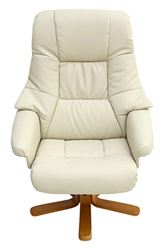 More4Homes SORENTO BONDED LEATHER SWIVEL RECLINER ARMCHAIR CHAIR with FOOT STOOL (Cream)