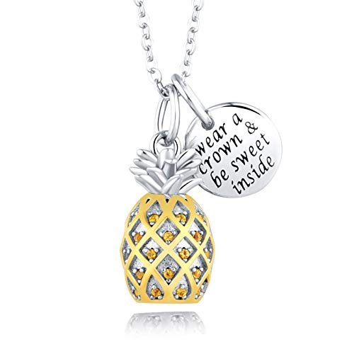 Sterling Silver 3D Pineapple Necklace Inspirational Message Jewelry CZ Pineapple Pendant Birthday Graduation Christmas Gift for Girls Women 18