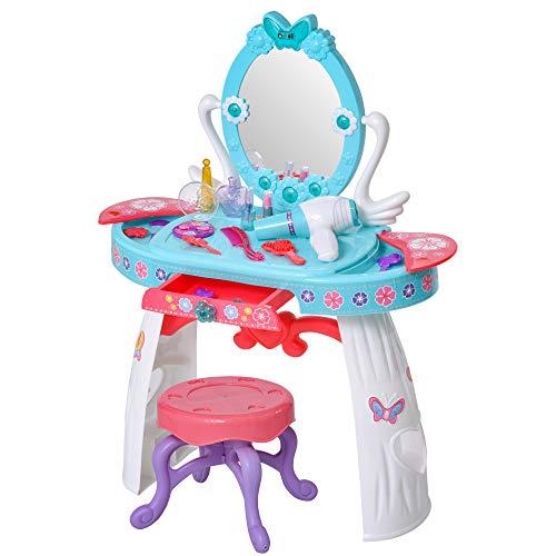 HOMCOM Tocador de Juguete para Niños con Taburete Función de Música Luces +3 Años Incluye 29 Piezas Centro de Belleza Infantil 49,5x23,5x69,5 cm Azul