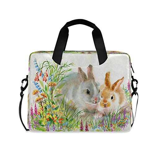 BGIFT Men Women Laptop Bag Watercolor Easter Bunny Rabbit Laptop Case Sleeve 15.6 13 14 16 Inch Briefcase Messenger with Shoulder Strap Handle Notebook Computer Tablet Bags for Kids