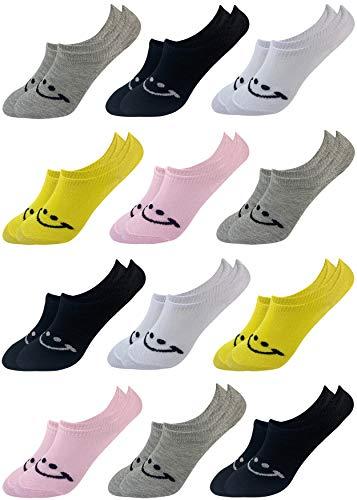 LOREZA ® 12 Paar Kinder Mädchen Baumwolle Sneakersocken (33-36, Modell 9)
