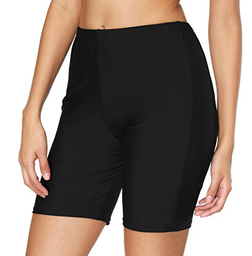 ATTRACO Women's UPF50+ Sport Board Shorts Swimsuit Bottom Skinny Swim Shorts Black Large