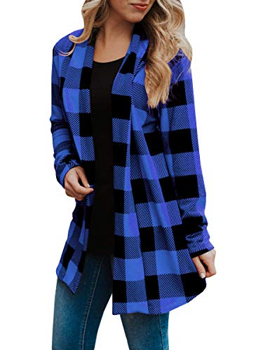 Womens Buffalo Plaid Long Sleeve Plus Size Open Front Elbow Patch Cardigans (3XL, Navy Blue)