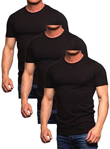 Jack and Jones Herren Basic T-Shirt 3er Pack Tee V -Neck Ausschnitt oder Rundhals Slim Fit Weiß Schwarz Blau Grau Rot (O-Neck 3er Pack Black, L)