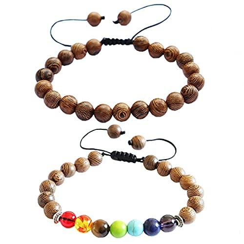 2 pulseras de cuentas de madera de 8 mm, 7 chakras, ajustables, para hombres y mujeres