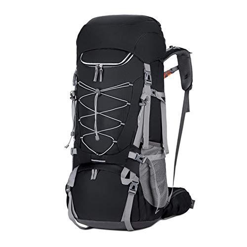 ASDFGHJKL 70L Trekking Rucksack Hiking Backpack, Mountaineering Outdoor Waterproof Large Capacity Bag for Climbing Hunting Skiing with Rain Cover,Black