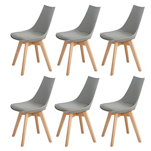 DORAFAIR Set di 6 Sedia da Pranzo Design scandinave con Gambe in faggio Massiccio e Cuscini in Finta Pelle, Grigio