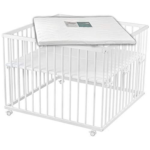 Sämann Laufgitter 100x100 cm mit Matratze, TÜV geprüft 2020, stufenlos höhenverstellbar, Baby Laufstall, Buche, weiß lackiert
