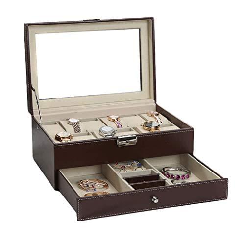 BWCGA Caja de Reloj de Cristal Caja de Reloj-Top Box almacenaje de la exhibición del Pecho Lleva a Cabo con Alta Profundidad for los Relojes más Grandes (Color : Brown)