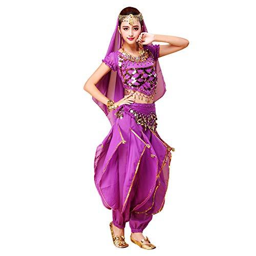 Xinvivion Donne Danza del Ventre Set - Halloween Carnevale Danza Abbigliamento Danza Indiana Costume Dancewear (Viola,Adattarsi 45-70 kg)