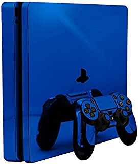 Blue Chrome Mirror Vinyl Decal Faceplate Mod Skin Kit for Sony PlayStation 4 Slim (PS4S) Console by System Skins