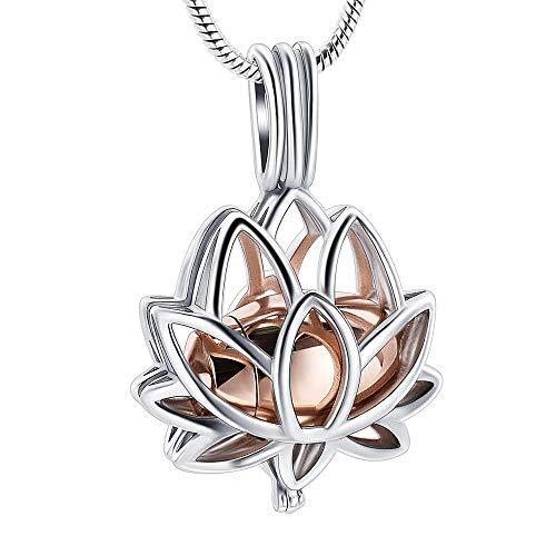 frenluy Collar De Cenizaembudo Nuevo Diseño Plata Lotus Hold Rosa Oro Mini Urna Acero Inoxidable Cremación Joyas Colgante Collar para Cenizas
