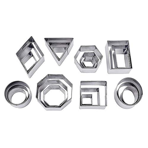Mini Geometrische Cookie Keks Ausstecher Set, 24 Stücke Metall Ausstechformen Set Einfacher Rand Geometrische Formen Mini Schneider, DIY Tools für Backen, Weihnachten von VOARGE (Rechteck) (Octagon)