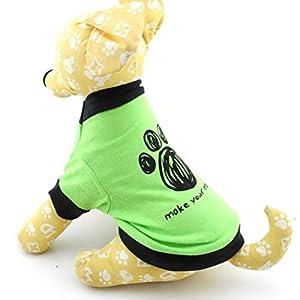 Zunea Petit Chien Vêtements d'été pour mâle femelle Patte de Chien Chemise T-shirt Pull Vert