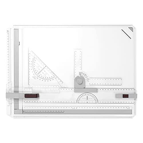 KKnoon Planche à dessin portable A3 avec équerre à dessin rapide - Outil auxiliaire pour bureau, ingénierie, étudiants, étudiants.