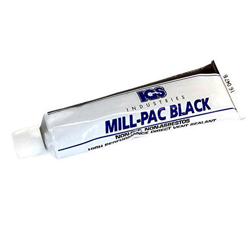 Non-Toxic High Temp Mill-Pac Black Sealant   Fireplaces, Wood, Pellet, and Gas Stoves, Direct Vent Systems, Flue Joints   Environmentally Friendly   1050-Degree (90 ml Squeeze Tube)