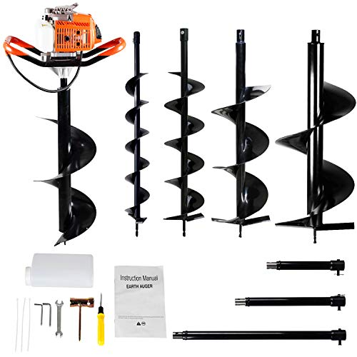 ECO LLC 63CC Heavy Duty Gas Powered Post Hole Digger with 4pcs Earth Auger Drill Bits (4' & 6' & 8' & 12'' Bits) and Extension Rod Set (Product Divide 3-4 Packages for delivery)