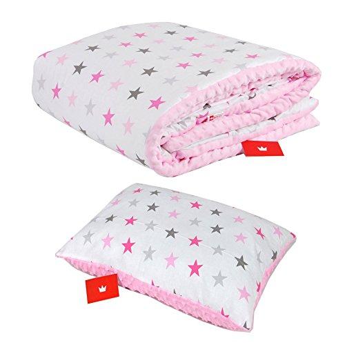 BABYLUX Kuscheldecke 100 x 150 cm Decke Babydecke Kinderdecke MINKY XXL (1. Rosa + Sterne mit Kissen)
