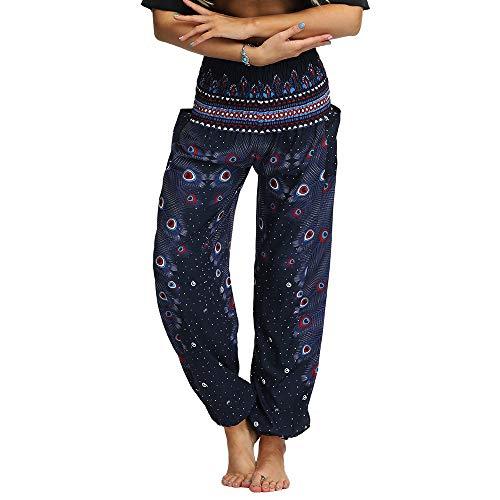 Nuofengkudu Damen Hippie Haremshosen mit Taschen Leichte Boho Muster Bunt High Waist Yogahosen Sommer Lockere Aladin Hosen (Marineblau,One Size)