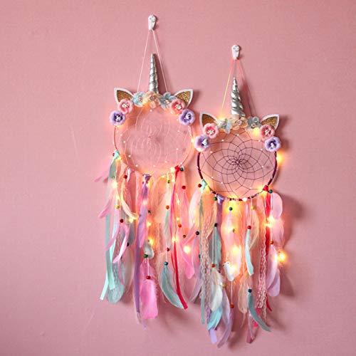 Oumefar Flores Hechas a Mano Lindo atrapasueños Unicornio Elegante Pluma Colorida niñas Dormitorio Infantil para el hogar Regalo de bendición