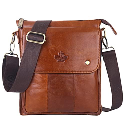 ZZNICK Genuine Leather Messenger Bag, Sling Bag Crossbody Shoulder Bags for Travel Work Business Men Women (Brown, Medium)