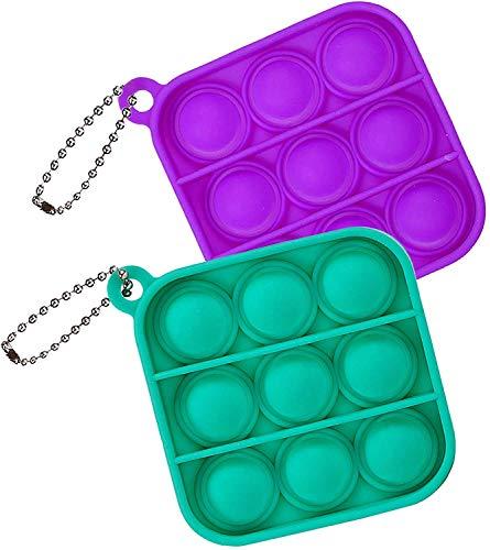 ZNNCO Push Pop Bubble Fidget Sensory Toy,Mini Tie Dye Pop Keychain to Relieve Emotional Stress for Autism Kids Adults (Purple+Green Square)