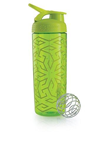 Blender Bottle SportMixer Zen Gala Pattern Sleek Shaker Bottle, Green, 825 ml Capacity