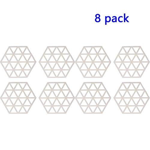 8-teiliges Topf Halter Hohl Hexagon Trivet Dämmkissen Pot Dish Matte Löffel Halter Verbrühungsschutz und hitzebeständig leicht zu reinigen Rack (Color : Off-white, Size : Triangle)