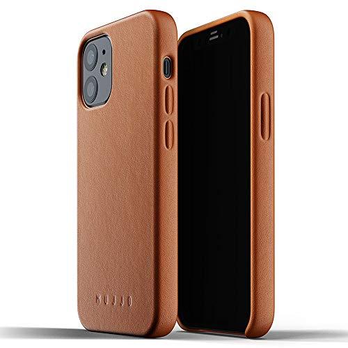 Mujjo Funda de Piel Lisa para iPhone 12 Marrón Claro