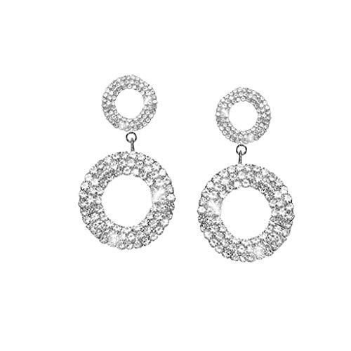 XBKPLO Earrings for Women's Dangling Wild Rhinestone Silver Hoop Earrings Alloy Lady Fine Fashion Trend Silver Jewelry Gifts