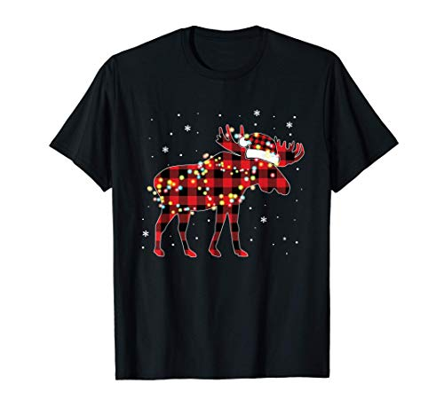 Moose Christmas Red Plaid Buffalo Pajama Matching Gift T-Shirt