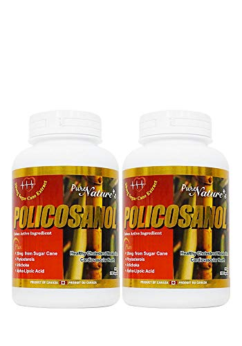 PNC Two Bottles of Policosanol Cuban Active Ingredient Healthy Cholesterol Metabolism and Support Cardiovascular Health Alpha-Lipoic Acid - 20mg from Sugar Cane - 120 Caps - Health Supplement -
