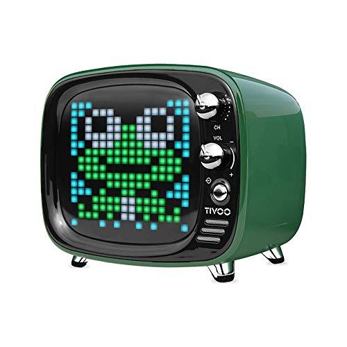 ZTKBG draagbare bluetooth-luidspreker, intelligente wekker pixel-kunst, doe-het-zelf, led-licht aanmelden decoratie, groen