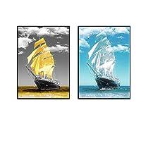 キャンバスに印刷モダンミニマリストゴールデンヨットキャンバス絵画壁アート写真ポスターとプリントリビングルームの家の装飾40x60cmx2フレームなし