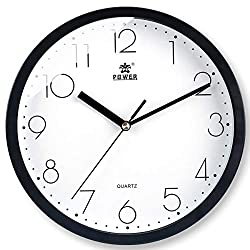 Laigoo 10 Inch Modern Wall Clock Decorative Non-Ticking - Silent Quartz Movement Battery Operated Analog Clock Round for Bedroom, Home, School, Office(Black)