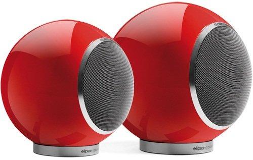 Elipson Planet L 2.0 kugelförmiger Design-Lautsprecher mit Koaxialchassis, Rot Hochglanz (Paar)