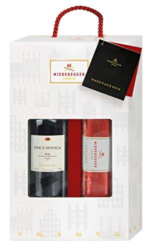 Niederegger Lübeck - Marzipan & Wein - Geschenkset - 1050g Rotwein und Marzipan mit Zartbitter-Schokolade