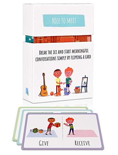 Feeloty Nice to Meet - Vivid Question Cards to Start Meaningful Conversations, for Family, Therapy and Educators - Fun Table Topics Game for Dinner, Road Trip and Icebreaking Activities