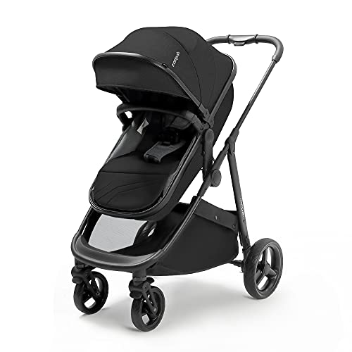 Mompush Baby Stroller with True Bassinet Mode for Newborn and Toddler, Convertible Carriage Bassinet to Stroller, Reversible Seat, Foot Cover and Rain Cover Included, Large Storage Space