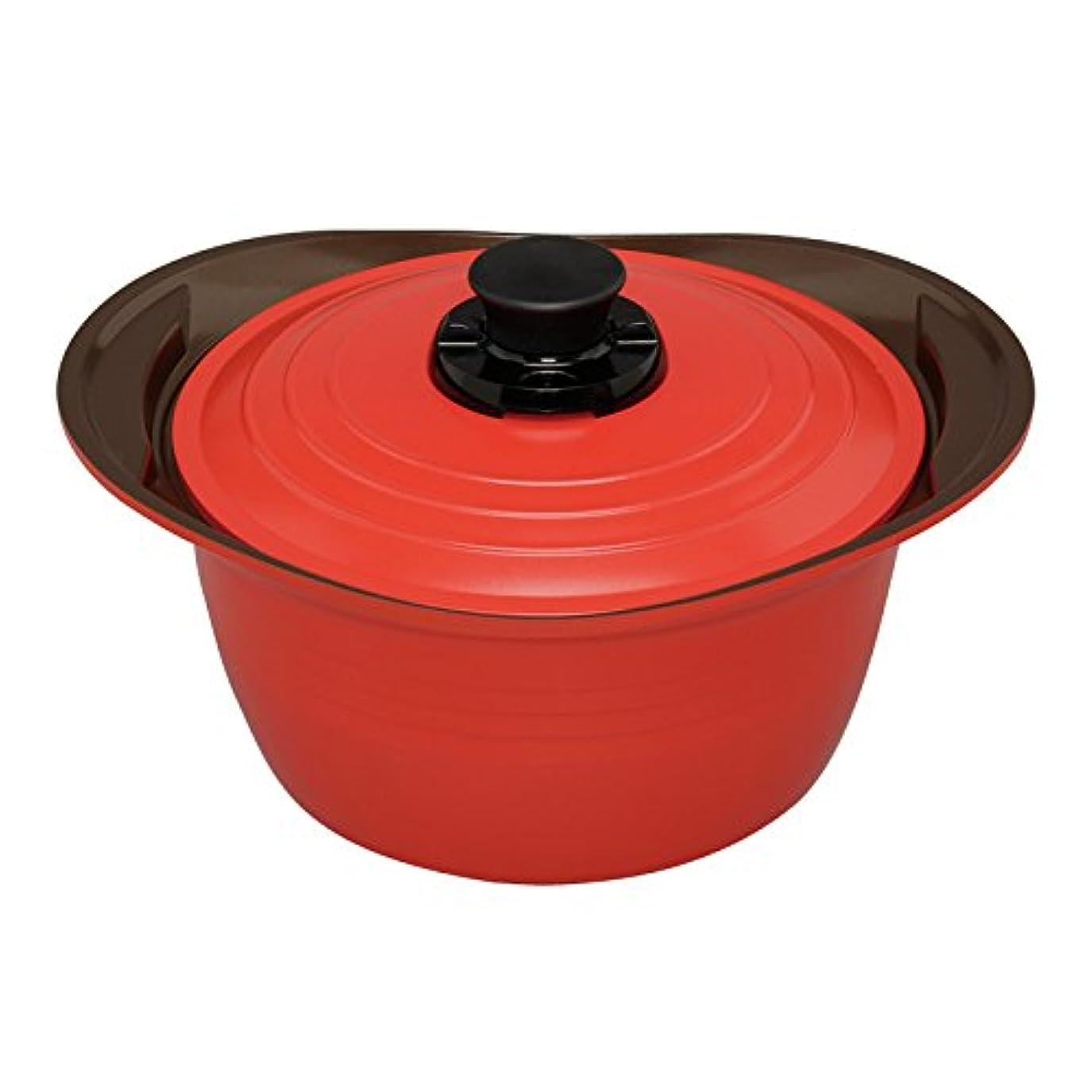 アイリスオーヤマ 両手鍋 無加水鍋 24cm 深型 レッド MKS-P24D
