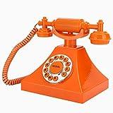 Teléfono fijo vintage -Estilo de 1960 naranja Teléfono retro antiguo Cortado Clásico Antiguo Teléfono de estilo europeo Decoración hogareña con botón transparente grande para el hogar/hotel/oficina