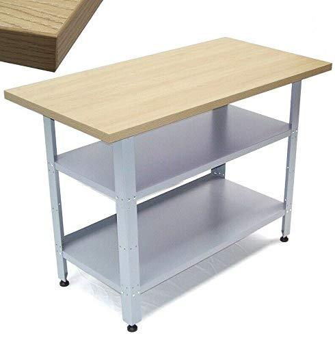 Werkbank Werkstatttisch 06058 Werktisch 120cm Packtisch Tisch mit Holzarbeitsplatte mit Ablage Regal AWZ