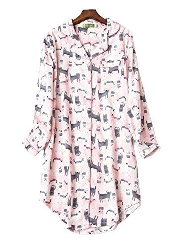 Pijama Mujer Algodon Invierno Manga Larga Ropa de Dormir Tallas Grande