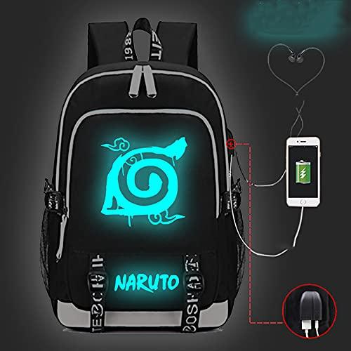 EDMKO Mochila Luminosa Naruto, Mochila Escolar de Hombro de Tela Oxford portátil de Viaje con Puerto de Carga USB Bolsa para Laptop para Trabajar Colegio Escuela al Aire Libre,C
