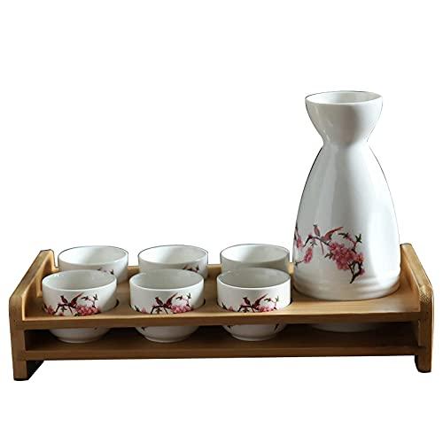 MISS KANG Juego de 7 tazas de sake japonesas con estante, de porcelana tradicional, tazas de cerámica para manualidades, copas de vino, B Qingchunw (color: E)