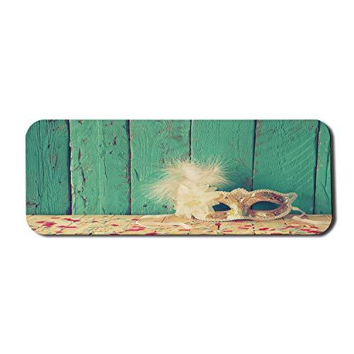 Alfombrilla de ratn para ordenador Masquerade, con plumas en el primer plano de los tablones rsticos de madera Disfraz, alfombrilla rectangular de goma antideslizante, grande, arena, marrn, mareen